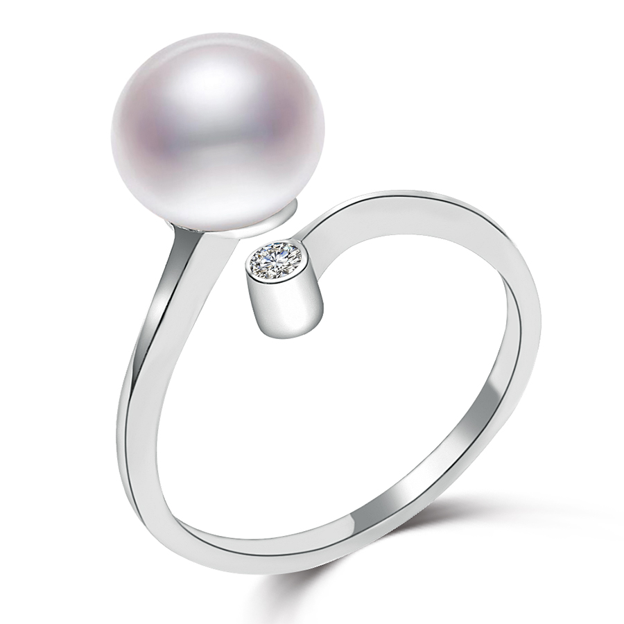 100% 925 Sterling Silver Women\'s Pearl Ring with 8...