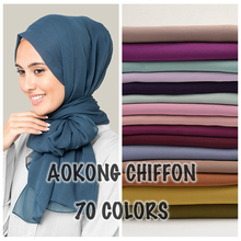10pcs/lot women solid plain bubble chiffon hijab scarf wraps soft long islam foulard shawls muslim georgette scarves hijabs(China)