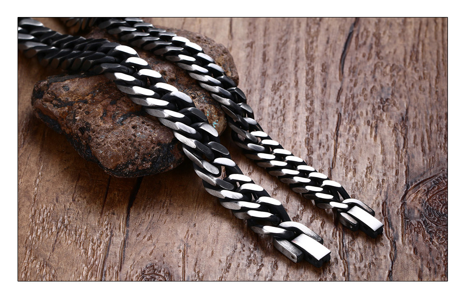Meaeguet 8mm Wide Vintage Stainless Steel Chain Link Bracelet Men Jewelry Matte Finished Hand Chain Bracelet & Bangle (3)