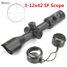 MIZUGIWA Mil-Dot Reticle Red Green illumination 3-12x42 SF Magnification Tactical Rifle Scope Adjustable Objective Lens Airsoft