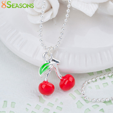 "8SEASONS Women Fashion 3D Necklace Ball Chain Silver color Red Lovely Cherry Fruit Enamel 45.5cm(17 7/8"") long, 1 Piece"