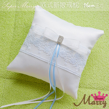 Light blue & white bowknot Wedding Ring Pillow Lace Embroidered Decor Pillow Cushion Party Wedding Decoration 16X16cm(China)