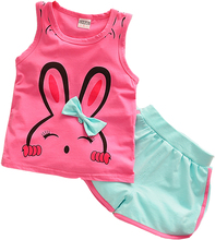 2017 summer baby clothing brand children's clothing set children's cartoon vest + shorts children bunnies(China)