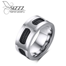 SIZZZ 10MM Wide 11.7G Weight Fashion Manufacturers spot wholesale stainless steel wire drawing black Weiya ring for men(China)