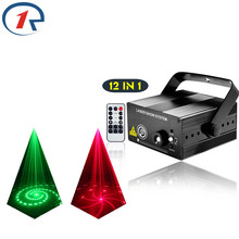 ZjRight IR Remote 12pattern Red Green laser lights Mix Blue LED effect stage light gala party projection laser light dj lighting(China)