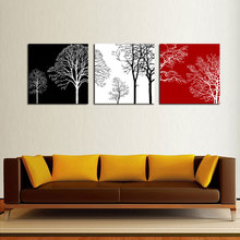 3 Panels Modern Canvas Painting Wall Art Black White and Red Tree Painting with Wooden Framed Wall Art For Home Decor Gifts(China)