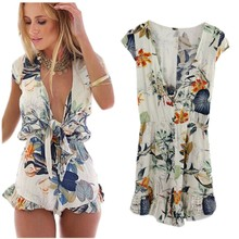 2017 Summer Style Boho Floral Print Drak Red Sexy V Neck Women Playsuits Romper Overall Long Sleeve Elegant Beach Short Jumpsuit