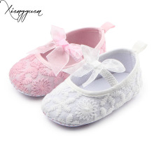 Beautiful Baby Shoes Lace Cotton Newborn Baby Prewalker Riband Butterfly-knot Princess Baby Girl Dress Shoes For 0-15 Months(China)