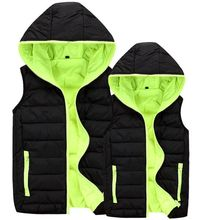 Custom custom LOGO printing down cotton vest  thickened overalls slim men and women winter Hooded Vest chaleco hombre