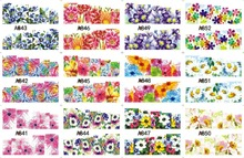 12 PACK/ LOT WATER DECAL NAIL ART NAIL STICKER SLIDER TATTOO FULL COVER COCKSCOMB ROSALIE MORNING GLORY A841-852(China)