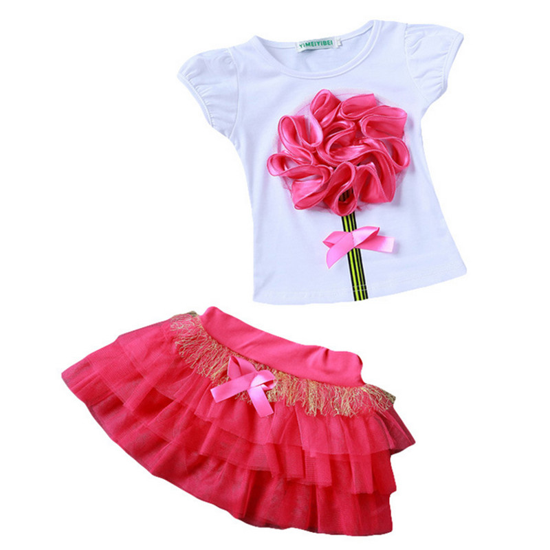 2017 New Casual Children Outfits Tracksuit Summer Clothing baby girls Floral t-shirt + girls tutu skirt Suit girls Clothing Set<br><br>Aliexpress