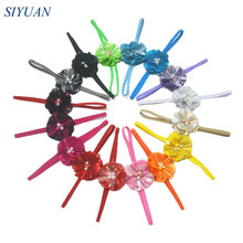 50pcs/lot Stretchy Headband with Rhinestone Centered Metallic Fabric Flower One Fit All Babe Photography Props HB003