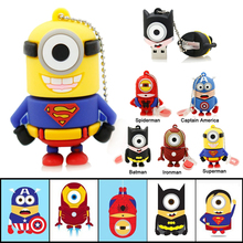 Amthin usb flash drive new hot pendrive Captain America super hero minions pen drive 32G 16G 8G 4G 2G cartoon usb 2.0 Pen drive