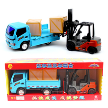 1set boys toy Engineering vehicle flatbed truck+ forklift car model toys plastic Diecast Metal Modle toy For Kids children gifts(China)