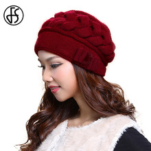 FS Fashion Female Red Wool Caps Thermal Warm Double Layer Knitted Rabbit Hair Woman Hat Winter Ear Protection Beanies Gorra Hats