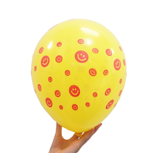 HEY FUNNY 100pcs/lot 12 inch orange dot yellow latex smile balloons for wedding and birthday party decoration bubble balloons
