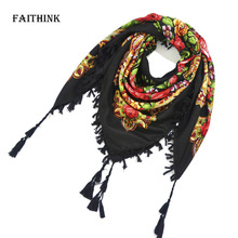 [FAITHINK] New Women Fashion Russian Floral Wrap Scarf Printed Adult Gift Stole Cape Poncho Winter Summer Foulard HeadBand(China)