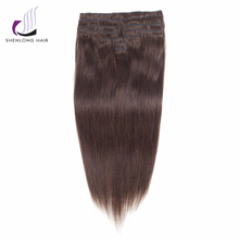SHENLONG HAIR Straight Remy 100% Human Hair Weaving Malaysian #4 Clip In Hair Extensions 9 pcs/set 16 to 20 inch 12 Colors(China)