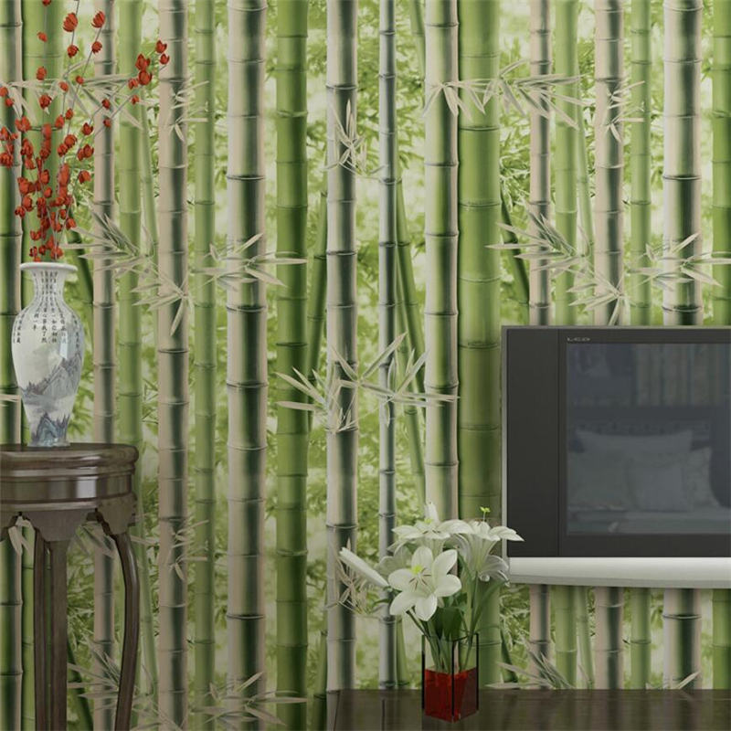 Beibehang Retro Bamboo Background Wallpapers Bedroom Living Room TV Background Pastoral Green Bamboo 3d Wallpaper mural roll<br>