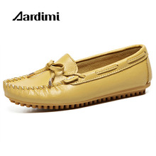 Buy Top spring loafers women genuine leather shoes slip women flats shoes fashion solid flat shoes woman mocassins for $18.64 in AliExpress store
