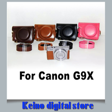 Fashional PU Leather Oil Skin Camera Case Bag Cover Bady For Can&n pow-ershot G9X with Strap New Black Coffee Brown Pink Cover(China)
