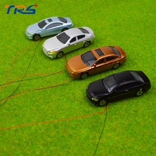 20pcs scale model lighted car model architecture material model plastic car with 12V LED light
