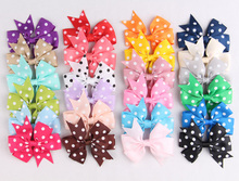 (50pcs/lot)New Design Fabric Flowers Artificial Ribbon Hair Bow Flower Accessories Flatback White Spot Bow Flower For Headbands