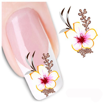 Hot Selling Water Transfer Nail Sticker Water Decals Beauty 3D Cute DIY Red Flowers Design Nail Art Stickers Manicure