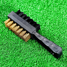 1Pc Black Double 2 Sided Nylon/ Brass Wires Golf Club Clip Groove Brush Cleaner Ball Shoes Kit Fit Cleaning IRON / WOOD Tool NEW