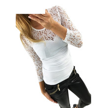 Plus size 2017 New fashion Women's Shirts Spring O-neck Lace Crochet Blouse Shirts long sleeve sexy tops Black/White