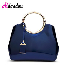 Luxury Jelly Ladies Hand Bag 2017 Designer Totes Women Patent Leather Handbags Classic Circle Ring Messenger Bags Large Shoulder(China)