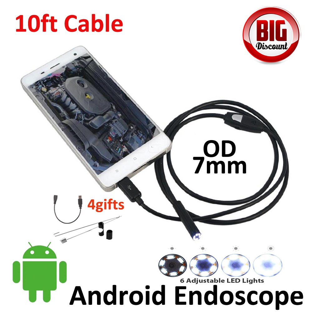 7mm Lens 10ft Android OTG USB Endoscope Camera IP67 Waterproof Micro USB Inspection Borescope Smart Android Pinhole USB Camera <br><br>Aliexpress