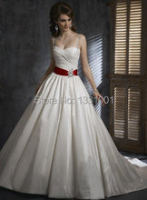 Stunning Plus Size Pin Up Dresses 2016 Fashion Sexy Sweetheart Cheap Red And White Wedding Dresses Beaded Debutante Gown A Line