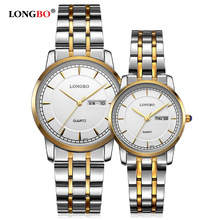 Fashion LONGBO Brand Full Stainless Steel Men's Ladies Couple Business Live Waterproof Watches Calendar Dress Lovers' Watches(China)