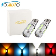 2PCS W5W LED T10 Led Bulb Canbus Error Free 10SMD 5630 Auto LED Lamp Car Interior Lights White Amber Yellow Red Ice Blue 12V
