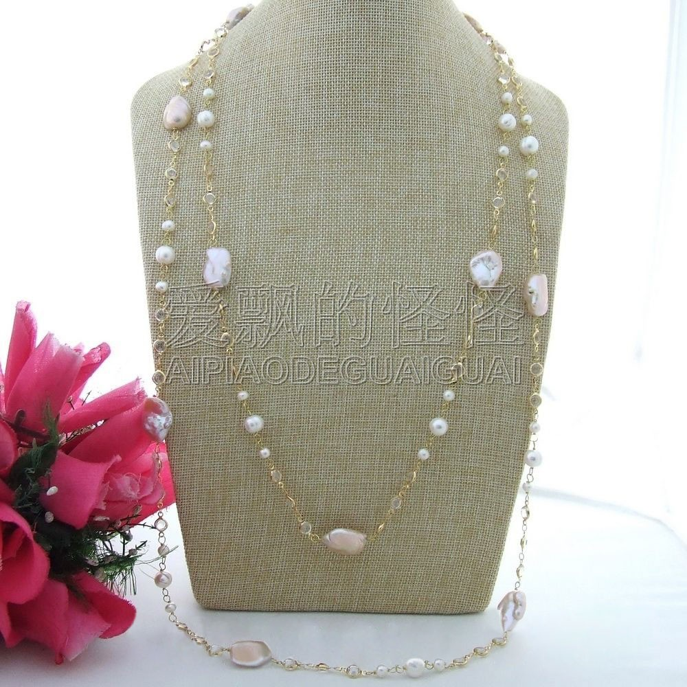 "N110202 69"" Pink Keshi Pearl White Crystal Chain Necklace"