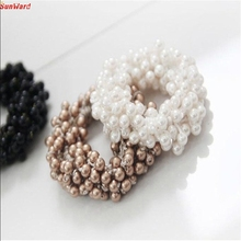 Best Price 1PC Fashion Korean Women Pearls Beads Hair Band Rope Scrunchie Ponytail Holder