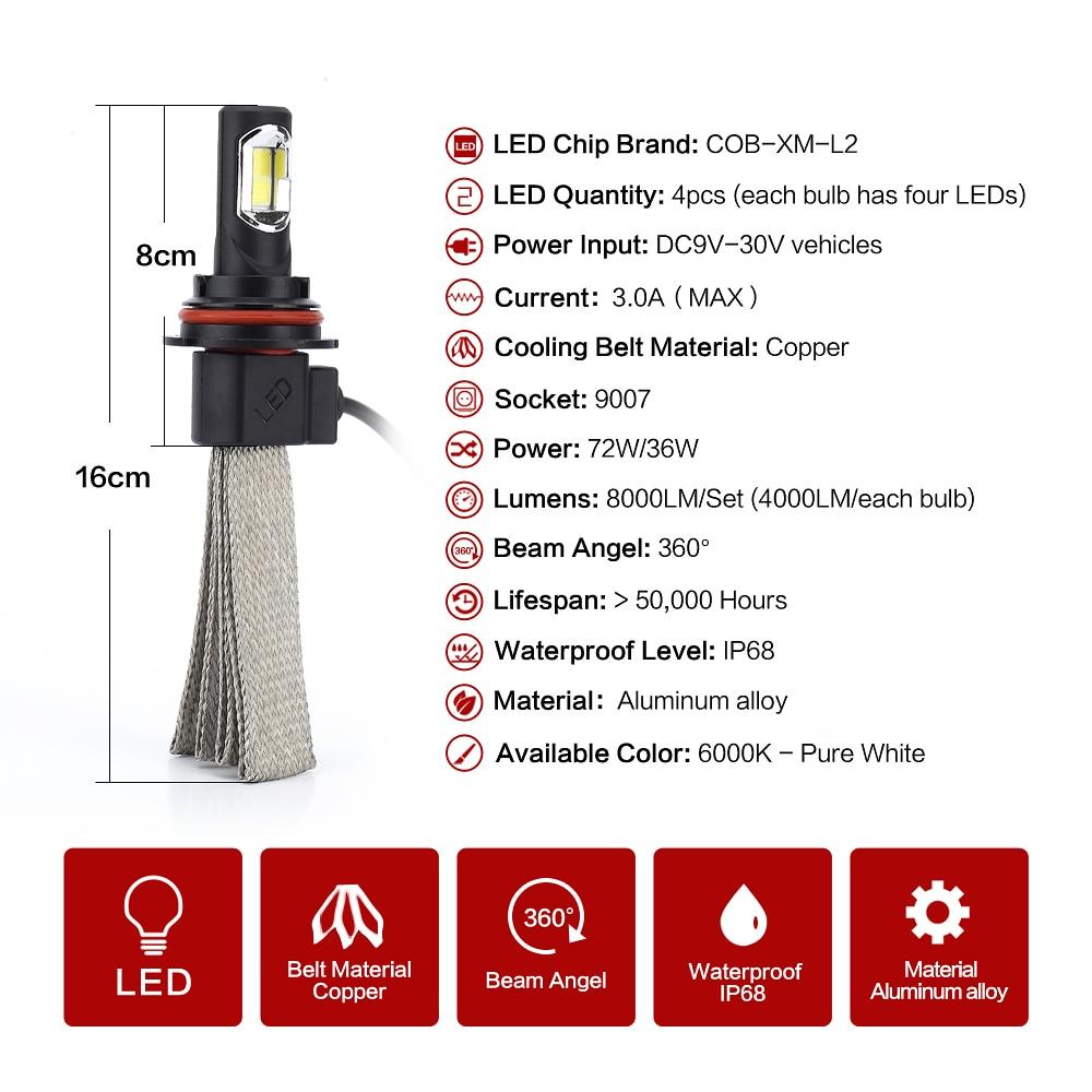 h11 auto led bulb 9007 Strong Bright 8000lm 72W H4 H/L White 6000K Car LED Headlight Conversion Lamp KitBetter than xenon bulb<br><br>Aliexpress