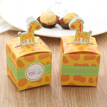 lovely Cute Giraffe Baby Shower Candy Box Chocolate Box Paper Candy Box Clown Party Favors And Gifts Baby Shower Decorations(China)