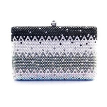 7748B Crystal Black Gradual change effect Lady fashion Metal Evening purse clutch bag case box handbag