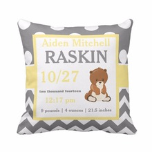 Custom Birth Stats Baby Boy Gray Yellow Bear Throw Pillow Cover Home Decorative Cushion Cover Sofa Seat Car Soft Pillowcase