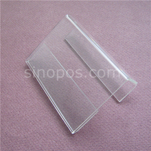 Acrylic Shelf Talker, hanging sign Holder fold back clip, wire bin wall bar clear plexi advertise display tag ticket card label