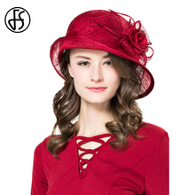 FS Summer Linen Hats For Women Sun Hat Elegant Lady Hat Wine Red Flowers Asymmetr Wide Brim Luxury Fedoras(China)