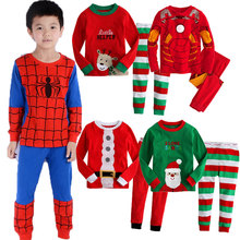 Buy Children Clothing Set 2pcs Suits Christmas Cartoon Spider Iron Man Superman Kids Pajamas Sets Baby Boys Girls Sleepwear Clothes for $9.99 in AliExpress store