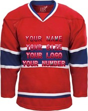 New Factory Custom Free Design Logo Wholesale ICE Hockey Jerseys Replica Home Mens Vintage Jersey Red White XXS-6XL