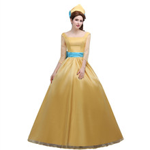 Custom Made  Movie Beauty and the beast Cosplay Costume   Princess Belle Yellow Long Dress for Women Formal occasion /Festival