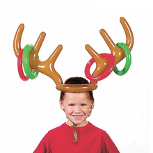 Children Kids Inflatable Santa Funny Reindeer Antler Hat Ring Toss Christmas Party Supplies Toys(China)