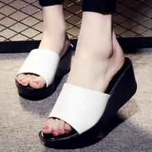 D&Henlu White Slides Shoes Womens Wedge Heels Platform Sandals High Heels Sandals Woman Open Toes Slippers zapatos de mujer moda(China)