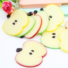 21pcs/lot new arrive Mixed Color Chunky Resin flat back apple Slice 50*3mm Pendants for DIY necklace bracelet(China)