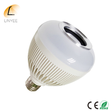 Wireless 12W Power E27 LED Bluetooth Speaker Bulb Audio Light Lamp Music Playing rgb with 24 Keys IR remote Control(China)